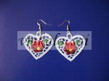 Szív alakú piros tulipános fülbevaló