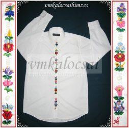 Kalocsai mintával hímzett gombsorú fiú ing