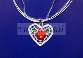Szív alakú piros tulipános nyaklánc
